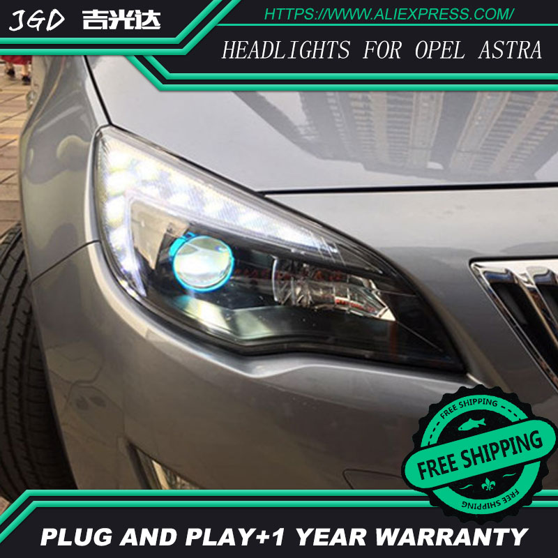 Car Styling Case for Opel Astra Headlights 2010 2011 2012 LED Headlight DRL Lens Double Beam H7 HID Xenon bi xenon lens hireno headlamp for 2010 2012 kia sorento headlight assembly led drl angel lens double beam hid xenon 2pcs