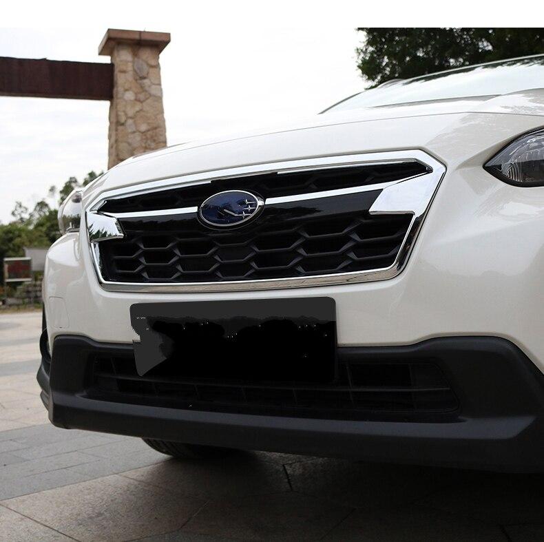 For Subaru XV 2018 Car Styling ABS Cromato Copertura Trim Esterno 2 colori Griglia Anteriore Cofano Motore Paillettes Accessori