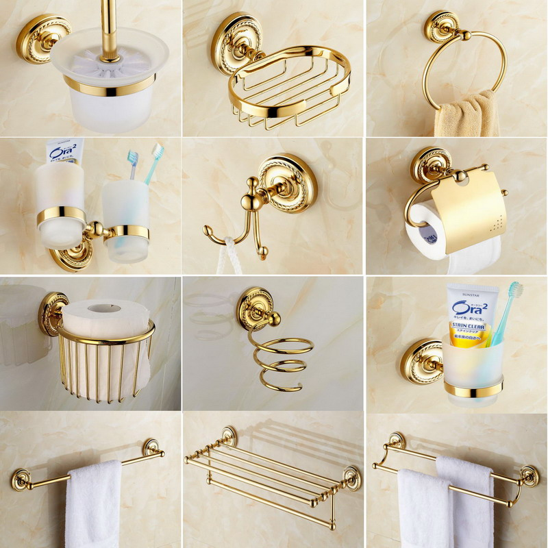 Bathroom Accessories Golden Brass Collection, Towel Ring, Paper Holder, Toilet Brush, Coat Hook, Bath Rack, Soap Dish aset006Bathroom Accessories Golden Brass Collection, Towel Ring, Paper Holder, Toilet Brush, Coat Hook, Bath Rack, Soap Dish aset006
