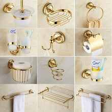 Bathroom Accessories Golden Brass Collection, Towel Ring, Paper Holder, Toilet Brush, Coat Hook, Bath Rack, Soap Dish aset006 antique brass luxury bathroom accessory paper holder toilet brush rack commodity basket shelf soap dish towel ring