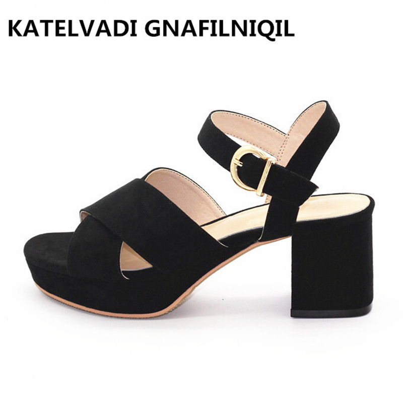 Summer Sandals Women Shoes 6CM High Heels Black Sandals Women High Heel Open Toe Platform Sandals Ladies Shoes Big Size F-009 bonjomarisa 2017 fashion summer sandles big size 32 43 cutout open toe thick heel less platform women shoes ladies footwear