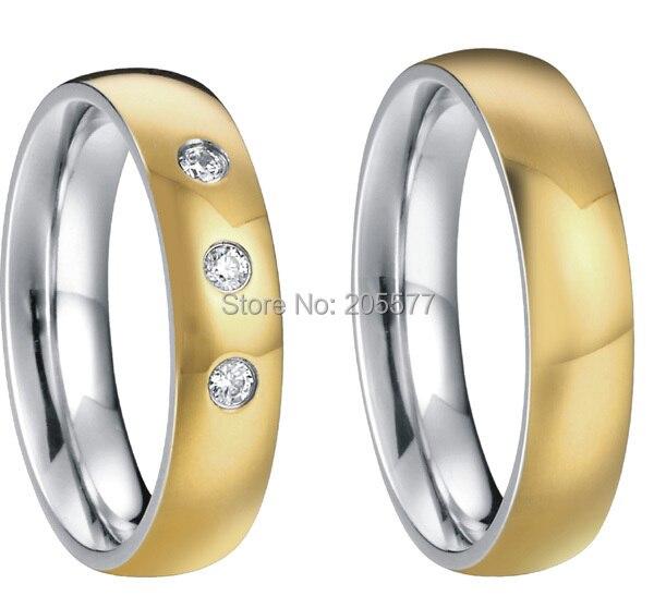 Plaqué or personnalisé santé titane anneau de mariage bague de fiançailles ensembles pour les couples