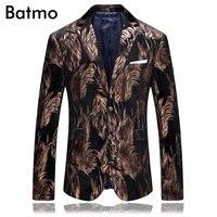 2017 Printed Blazer Men High Quality Famous Brand Casual Velvet Business Blazer Jacket Plus Size S