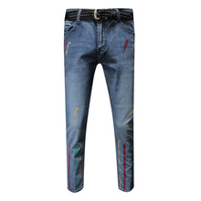 Men Jeans Masculino Denim Men's Printed Biker Jeans Zipper Cacual Jeans Skinny Homme graffiti Painted Pants Spring 2019 New graffiti print side skinny jeans