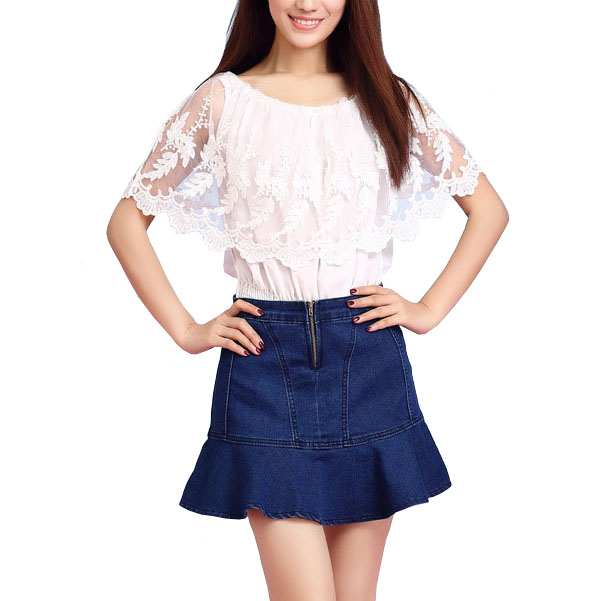 2016 new women shorts jeans blue ruffled mermaid skirt shorts short pantalon femme denim skorts. Black Bedroom Furniture Sets. Home Design Ideas