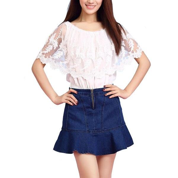 Shorts Jeans Blue Ruffled Mermaid Skirt Shorts Short Pantalon Femme ...