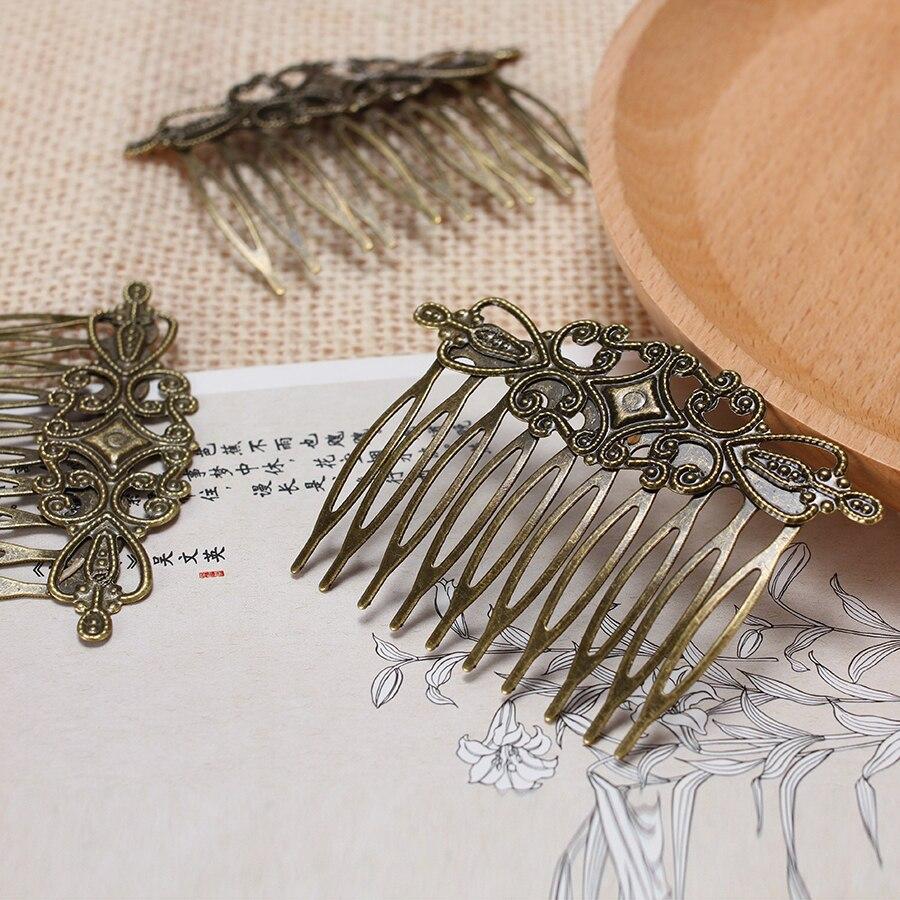 6 шт./лот brozen покрытием под старину Винтаж металлическая расческа для волос Зажимы пустой основные DIY Свадебные украшения для волос делая выводы и Компоненты