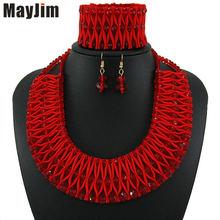 Массивное красное ожерелье mayjim 2018 модные хрустальные ювелирные