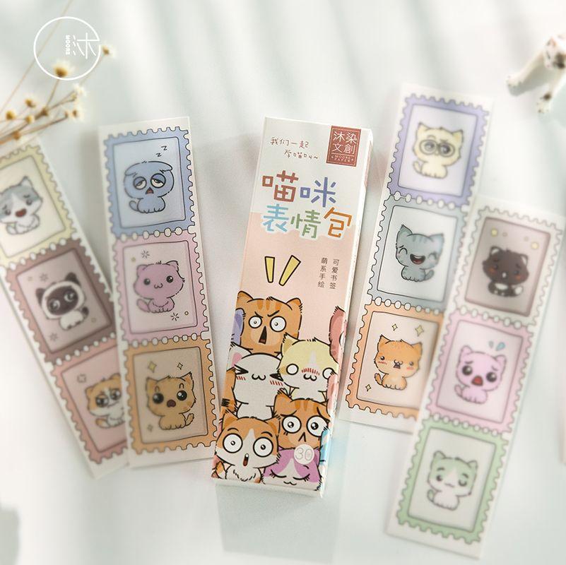 30 Pcs/Set Cute Kawaii Cat Expression Paper Bookmark Cartoon Book Holder Message Card Gift Stationery