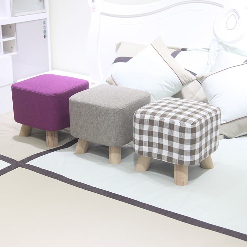 Wooden Square Stool Living Room Kids Sofa Bench Wearing Shoes Stools Home Cloth Art Foot Stool