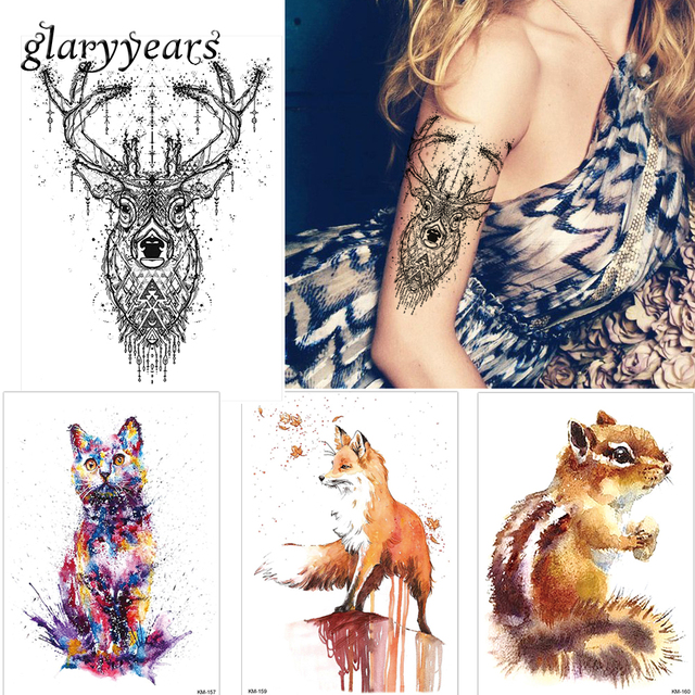 1pc Beauty Body Temporary Tattoo KM-048 Elk Deer Pattern Women Men Flower Arm Leg Art Waterproof Tattoo Sticker Colored Drawing