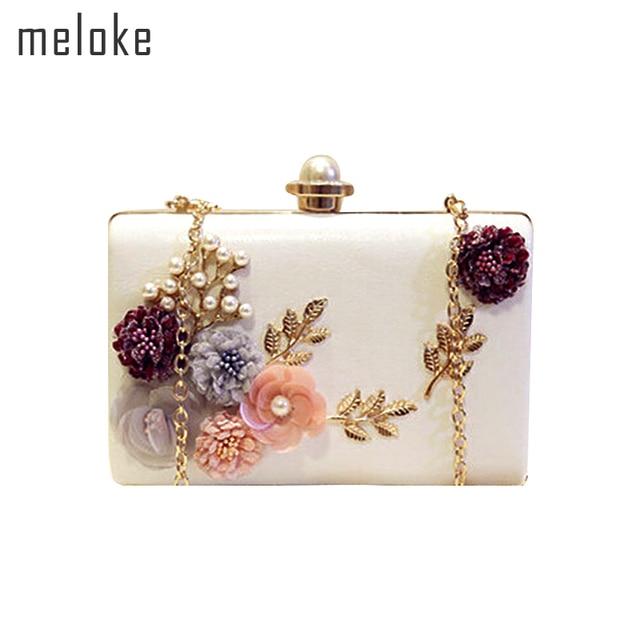 Meloke 2018 high quality handmade flowers evening clutch luxury clutch  wallet with chain wedding dinner bags 6845705f5fee