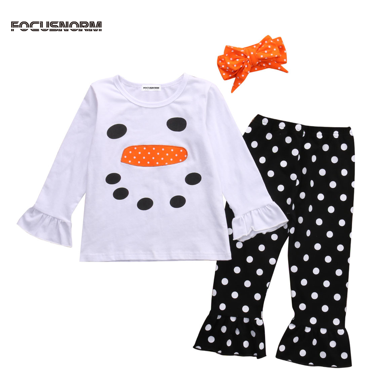 Toddler Kids Girls Clothes Cotton Long Sleeves T-Shirt Top+Pants +Headband Christmas Snowman Ruffle Polka Dot Outfits цена 2017
