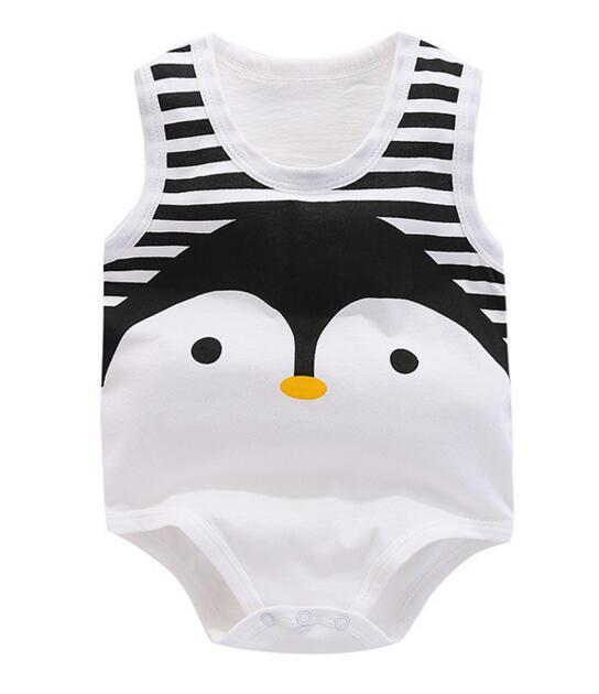 ⑥Bebé sin mangas del estilo del pingüino del algodón del verano la ...