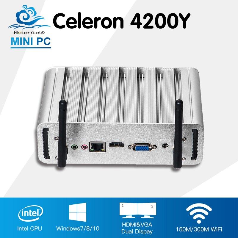 Fanless Mini PC Intel Core i5 4200Y Windows 10 Linux Office Computer Desktop Intel HD Graphics 4200 HTPC Mini Computadora y каталог windows