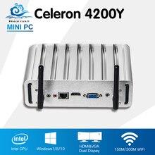 Без вентилятора Мини-ПК Intel Core i5 4200Y Окна 10 Linux офис настольный компьютер Intel HD Графика 4200 HTPC мини computadora