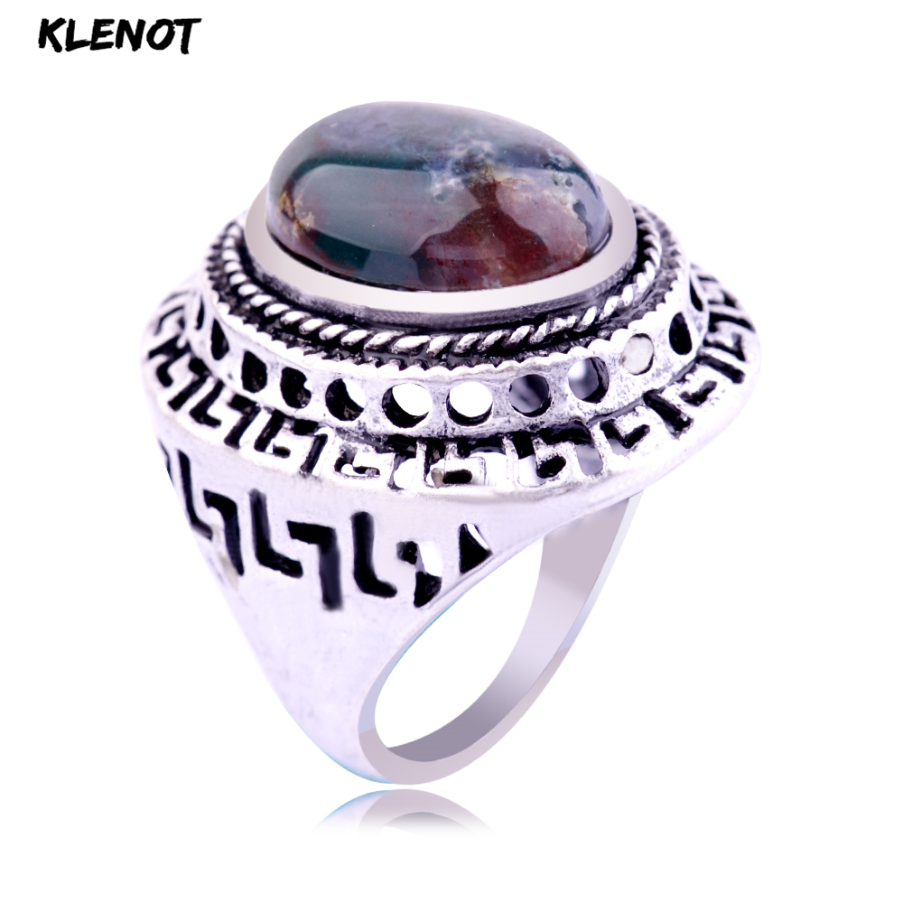 Natural Indian Agate Antique Silver Ring Ocean Onyx Stone Oval Setting Hollow Out Castle Vintage Men Finger Rings For Women