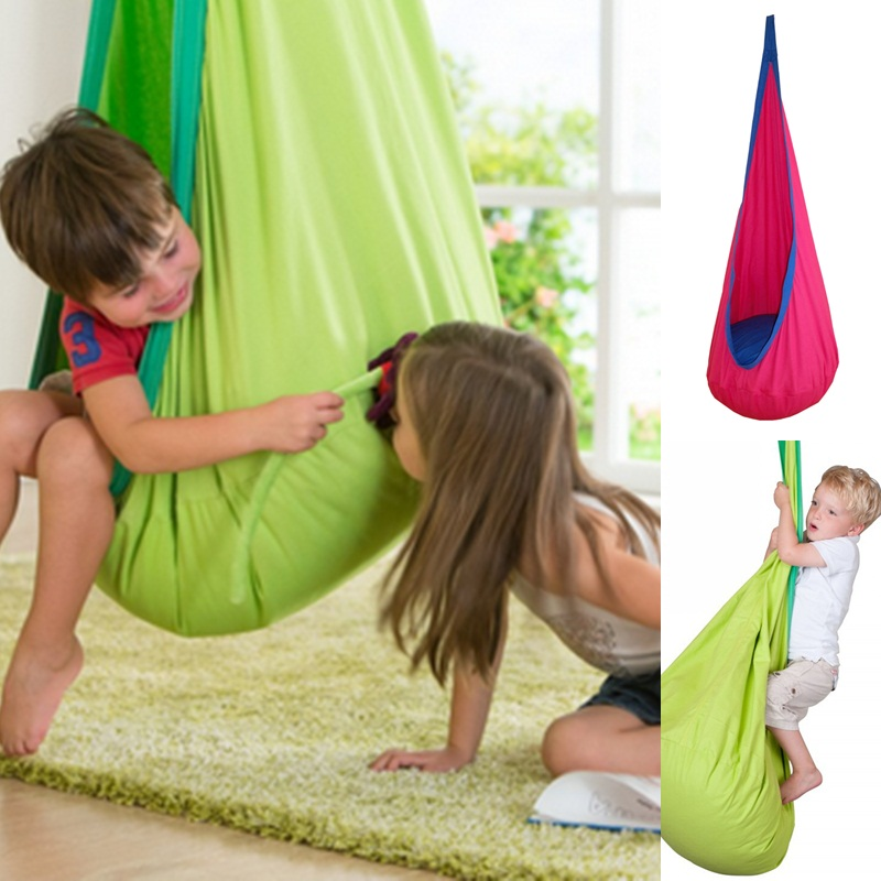 1 Piece Baby Swing Children Pod Hammock Indoor Outdoor Hanging Chair Adult Hanging Seat Chair Nest Blue Green Orange new kids pod swing chair nook hanging seat hammock nest for indoor and outdoor use great for children kids 7 types