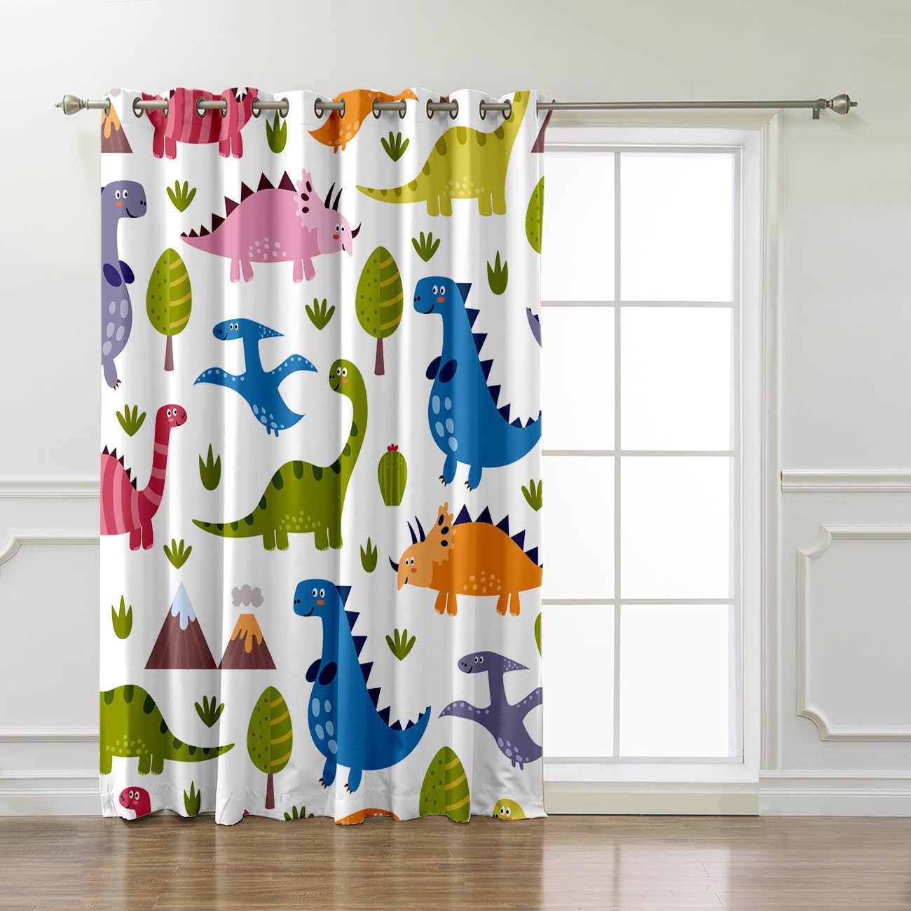 Lovely Dinosaur Patterns Room Curtains Large Window Curtain Lights