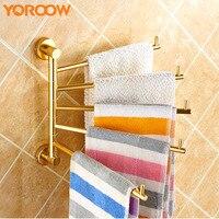 Gold Towel Rack Hanger Rotatable Bar Holder Towel Rail Bathroom Restroom Kitchen Wall Mounted Brass Storage Shelf Steel DE1003