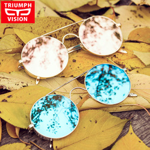 TRIUMPH VISION Female Pink Mirror Sunglasses Round Vintage Women Brand 2016 Metal Round Sun Glasses For Women New Shades Lunette