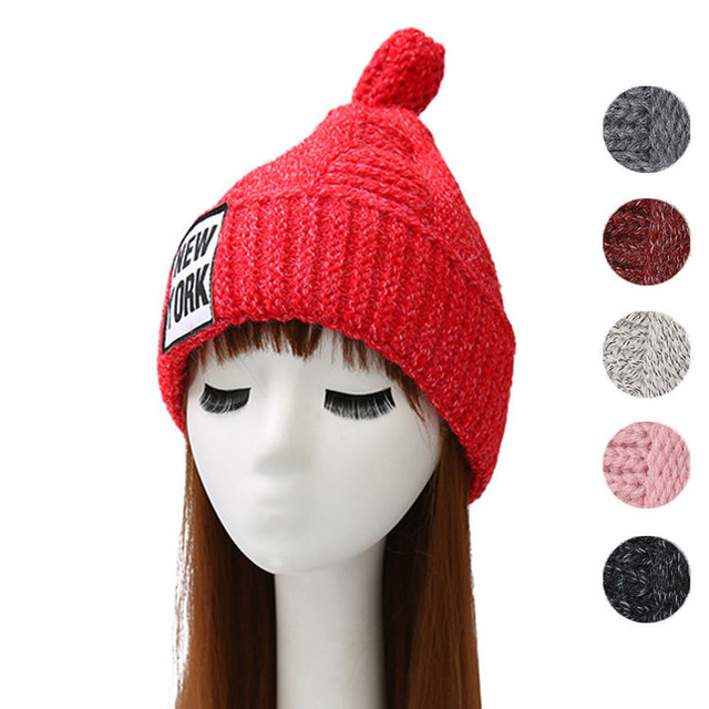 Christmas Women Ladies New York Knitted Hats Winter Thick Warm Bonnet caps  Woollen NY Skullies Casquette Pom Pom Beanie 0e48142fc8