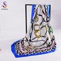 [BYSIFA] marca de La Cadena de Seda Estampado de Leopardo Bufanda Chal 2017 Accesorios de Las Mujeres de Blue Square Bufandas Wraps 90*90 cm Musulmán Cabeza bufanda