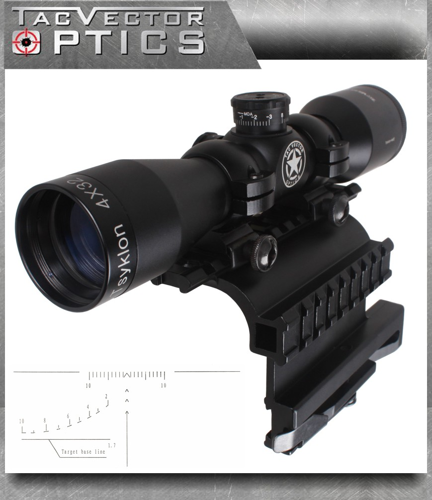 Vector Optics Tsyklon 4x32 Compact Shooting Riflescope with AK 47 / 74 QD Side Rail Moun ...