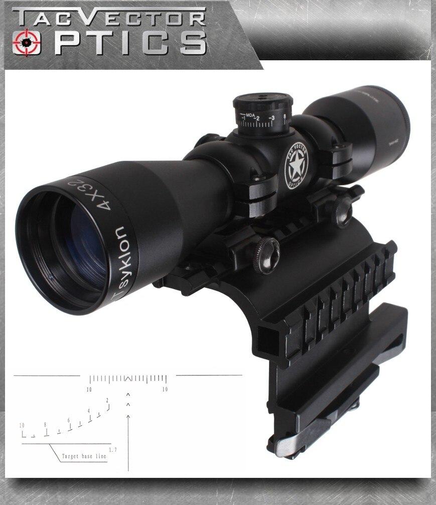 Lunette de tir compacte Tsyklon 4x32 à optique vectorielle avec support sur Rail latéral AK 47/74 QD, anneau de 1 pouce, réticule SVD 2 en 1