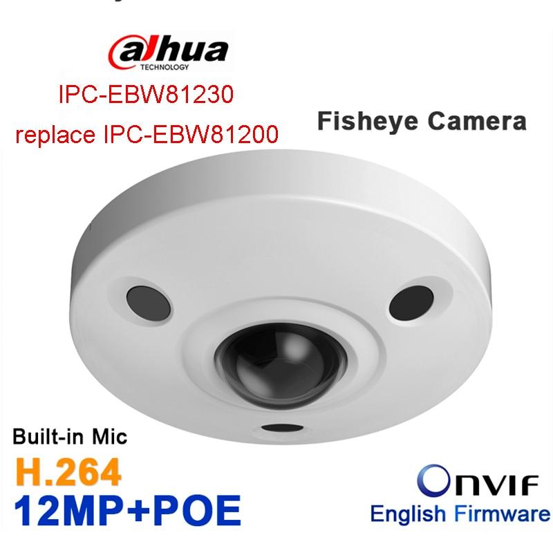 Dahua 12MP IP Panoramic Fisheye Camera IPC-EBW81230 replace IPC-EBW81200 H.265 POE IR10m IP67 mini camera Micro SD memory IK10 original dahua dh ipc ebw81200 12mp ultra hd metal waterproof shell ir network fisheye camera ip67 ipc ebw81200