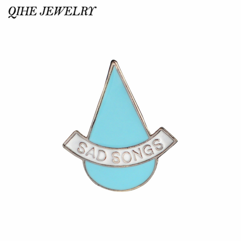QIHE JEWELRY Sad songs blue tear pins Cotton Hard enamel pins Broooches for men women Badges Lapel pins Accessories image