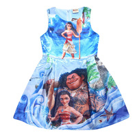 2017 Summer Girl Dress Moana Princess Dress Baby Girls Dresses Children Pearl Party Halloween Costume Kids