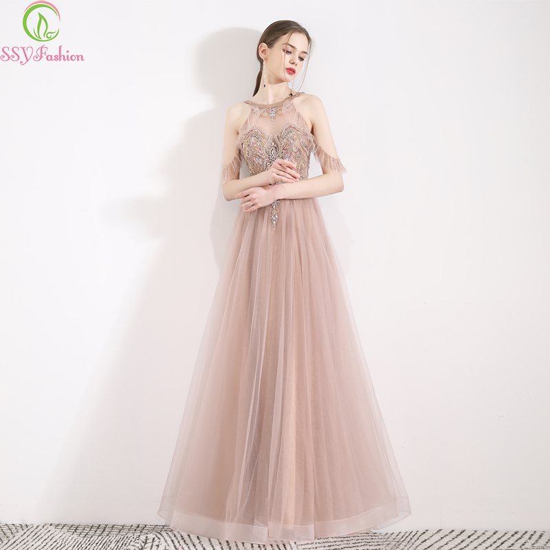SSYFashion New High end Evening Dress Halter Sequins Beading Floor length Backless Prom Formal Gowns Custom