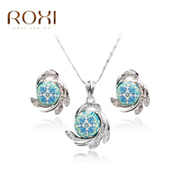 Wholesale European Style Blue And White Porcelain Diamond Earrings Necklace Exaggerated