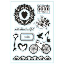 DIY Musical Note Bicycle Pattern Transparent Clear Silicone Seal Scrapbooking Photo Album Decorative Stamp Sheets
