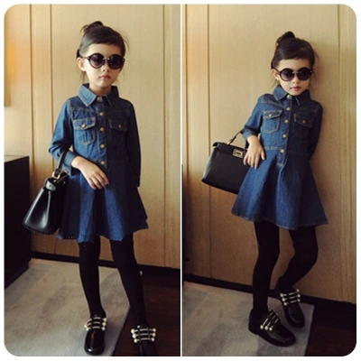 ec40a6f892bc New 2016 Kids Autumn Jeans Dress Girl Cotton Denim Dress Children ...