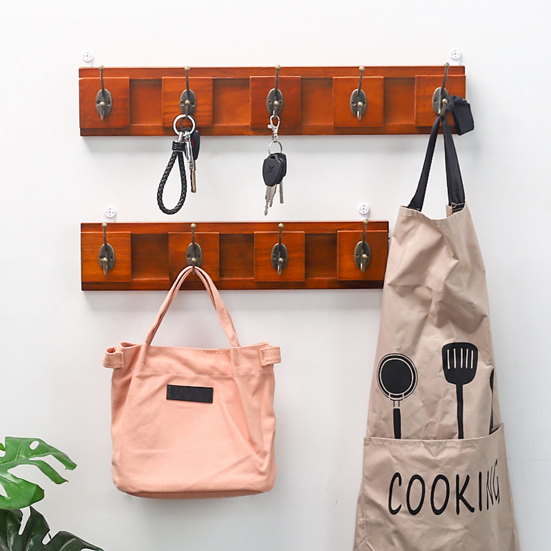 Home Storage Retro Hooks Rails Bathroom Bedroom Hanging Rack Holder For Cloth Wood Wall Adjustable Decorative