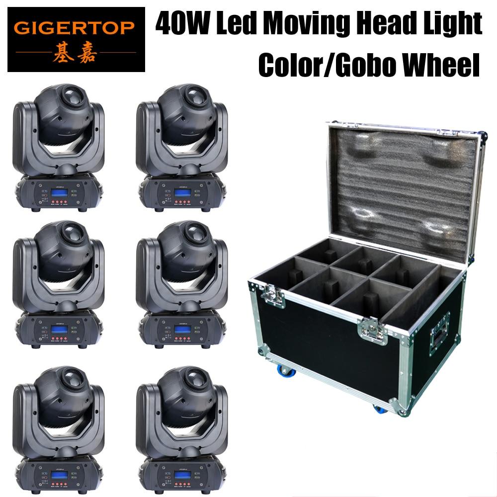 6pcs/lot 40W Mini Led Moving Head light DMX512 Mini Color Wheel Led Moving Head Gobo DMX 512 Equipment 6IN1 Flightcase Pack