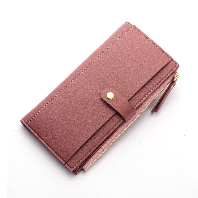 10PCS   LOT Long Wallet for Women Luxury Designer Fashion Hasp Zipper  Leather Wallet Female Clutch 88dd1b221565