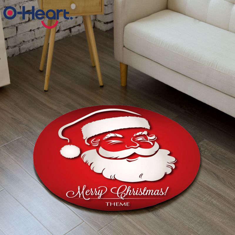 Sweet-Tempered Vrolijk Kerstfeest Deur Mat Flanel Ronde Antislip Tapijt Decor Outdoor Indoor Kerstversiering Voor Thuis Nieuwjaar 2019 Opruimingsprijs