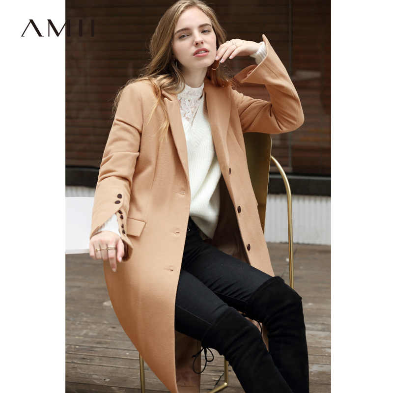 Amii Minimalist Women Woolen Coat Winer 2018 Causal Solid Button Sleeve Slit Office Female Long Wool Jacket Coat Cashmere Coats