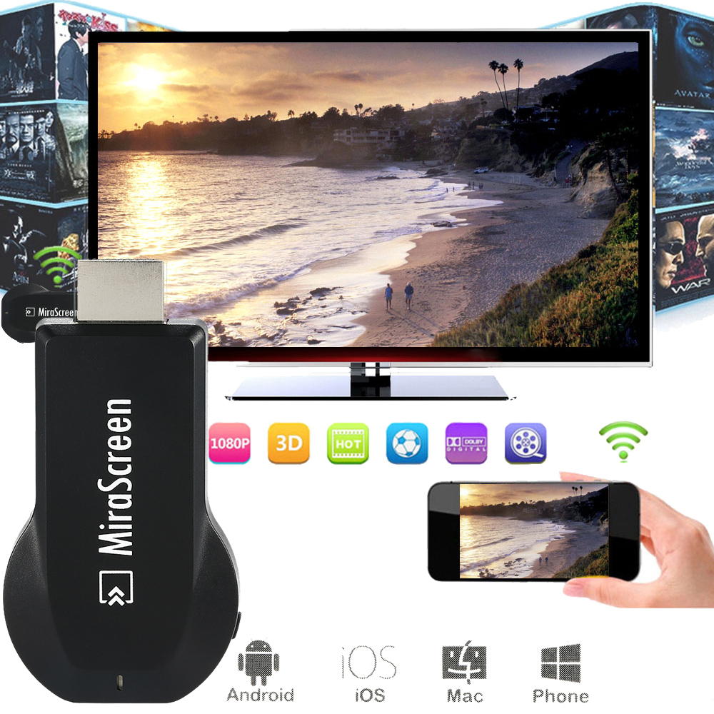 Mirascreen HDMI OTA TV Stick Dongle Wi-Fi Receptor de pantalla mejor anycast DLNA Airplay Miracast Airmirroring Chromecast TVSE5