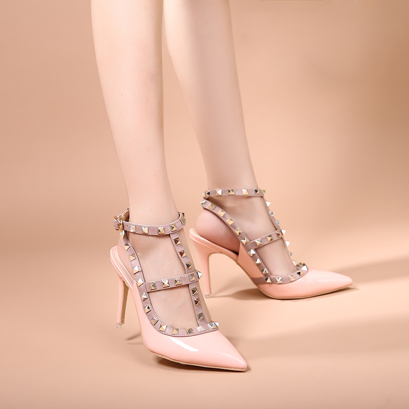 ФОТО High Quality Brand Designer Rivet Shoes 10cm Patent Leather Studded Slingback Heels Sandals Sexy Women High Heels Sandals Pumps