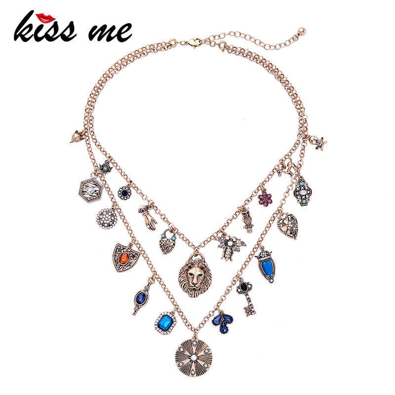 e2c2d36a97 KISS ME Women Statement Necklace 2019 Newest Alloy Double Chains ...