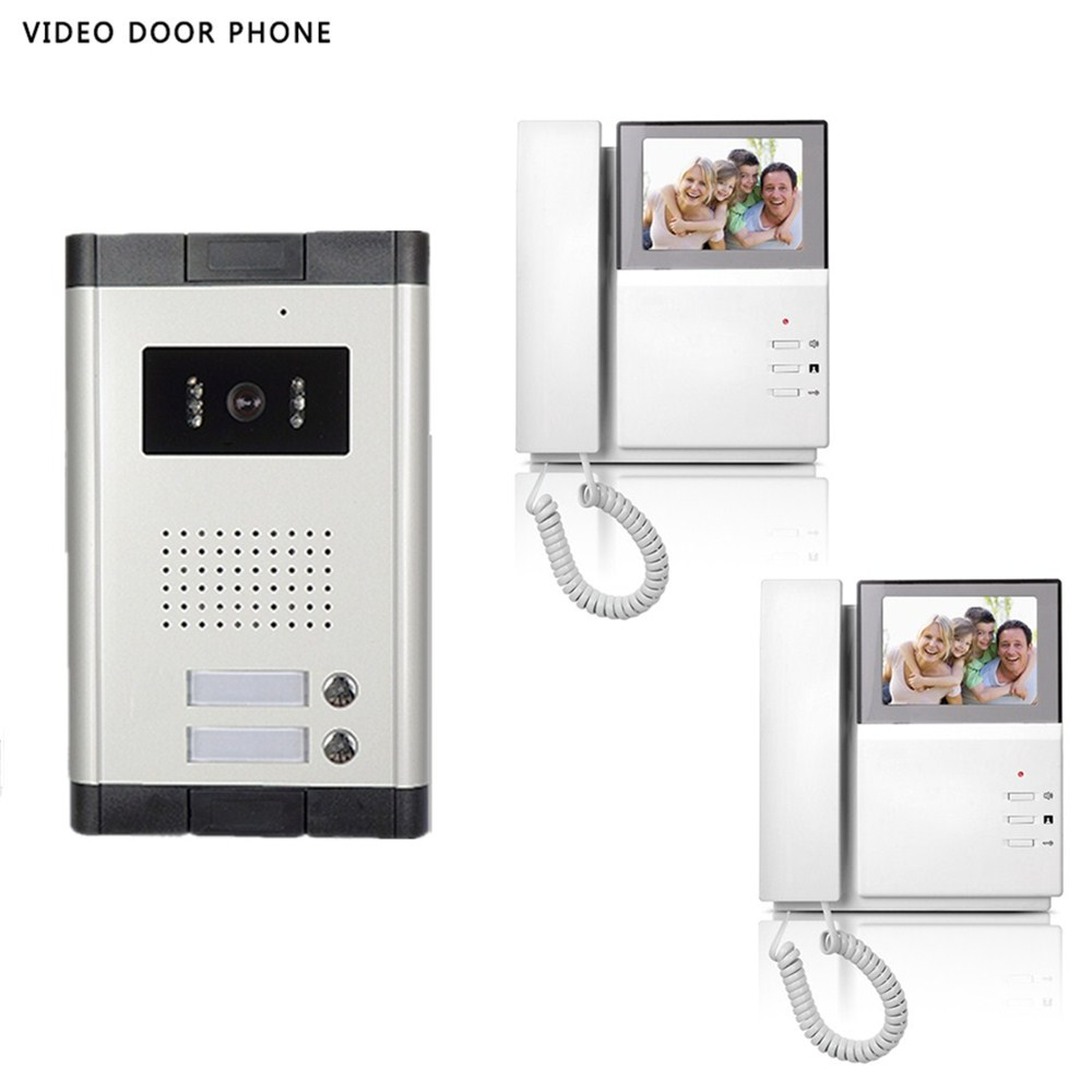 video intercom system 4.3tft lcd handset screen 2 monitor wired video doorphone for 2 apartment night vision camera ...