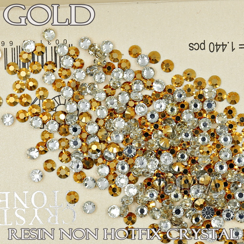 NICE Gold Aurum եղունգների բյուրեղներ: SS12 SS16 SS20 խեժ rhinestone Non Hotfix FlatBack Փայլեր DIY դեկորի համար Եղունգների արվեստի զարդեր Քարի