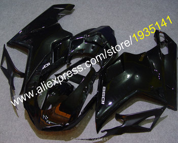 Brilliant Black Cowling For Ducati 848 1098 2007 08 09 10 2011 Year 1098S 1198 motorbike Fairing (Injection molding)