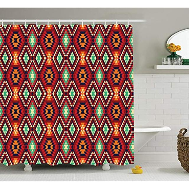 Vixm Native American Shower Curtain Geometric Triangle Aztec Tribal Motif Zig Zag Folk Art Style Ethnic Fabric Bath Curtains