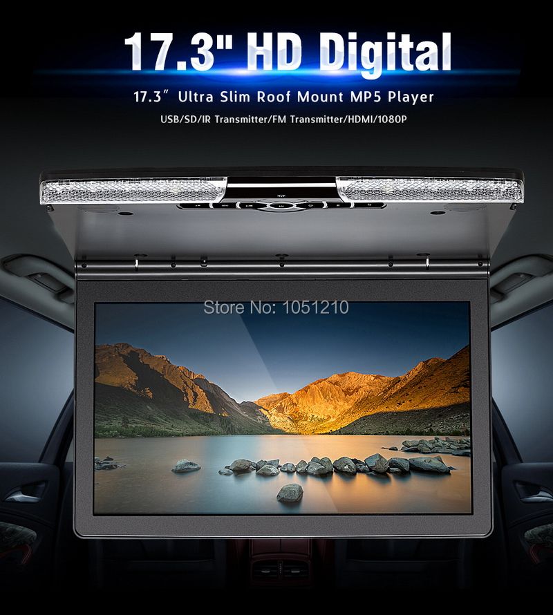 ouchuangbo 17.3 inch Car Headrest Monitor support MP5 player Car Ceiling Monitor lip Down Roof Mount function
