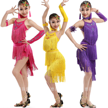 Children's Sequined Salsa Latin dance Dress costumes Clothing Girls Party Dress